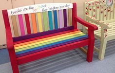 Friendship bench for playground, designed and painted with children from Y5 & Y6  -- Vicky Tyrrell