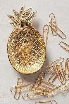 Anthropologie Ananas Trinket Dish & Clips