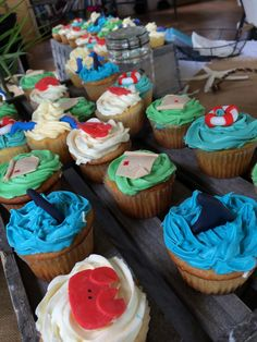 Cute cupcakes for nautical baby shower or birthday party