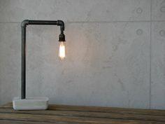 Minimal Pipe and Concrete Industrial Lamp door HOMEmadeMakeovers, $170.00