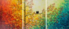 """Abstract Landscape Painting Original Modern Heavy Texture Impasto Palette Knife Tree Love Birds Wall Décor """"The Sun Shines on Us"""". $525.00, via Etsy."""