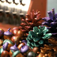 metallic paint on pinecones & acorns :)