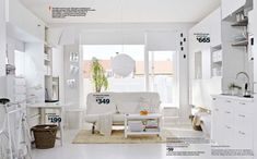 Furniture and Accessories. Comfortable White Airy Space IKEA 2014 Living Room Design Ideas with Cool Gateleg Table, Nice Sofa-Bed, Coffee Ta. Ikea Small Spaces, Small Space Bedroom, Small Room Decor, Tiny Spaces, Small Space Living, Small Rooms, Small Apartments, Ikea Furniture, Living Room Furniture