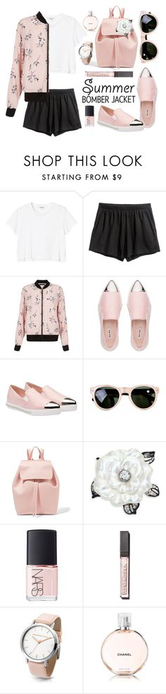 """Light Topping: Summer Bomber Jackets"" by leslee-dawn ❤ liked on Polyvore featuring Monki, New Look, Miu Miu, rag & bone, Mansur Gavriel, Kenneth Jay Lane, NARS Cosmetics and Sonia Kashuk"