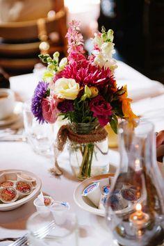 Saturday wedding flower decor used for Sunday brunch.