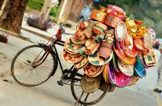 Handicrafts Selling on Bicycle Pakistan Shoe Story, Pakistan Zindabad, Another World, Handicraft, Bicycle, Design Inspiration, Pretty, Projects, Baskets