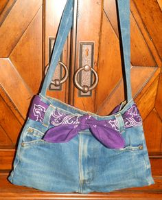 Small Handmade Denim Blue Jeans Purse with Purple Bandana, $25.00
