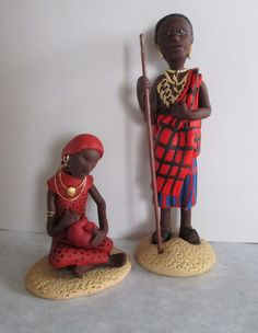 Who hasn't heard about the Masai people of Africa? This is a Masai nativity set. Unique and bright, as the people are.