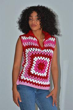 Size 0/2 Women's Granny Square Crochet Blouse/ Granny
