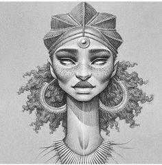 Black Girl Art, Black Women Art, Black Art, Art Girl, African Tattoo, African Art Paintings, Black Cartoon, Art Africain, Africa Art