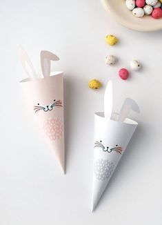 Free printable easter bunny treat cones easter crafts for kids, easter proj Bunny Crafts, Easter Crafts For Kids, Diy Crafts, Easter Baskets To Make, Hoppy Easter, Easter Bunny, Easter Eggs, Easter Activities, Easter Games