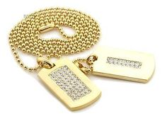 """NEW ICED OUT HIP HOP DOUBLE DOG TAG 18k GOLD FILLED W 30"""" BALL CHAINS DTC002GS"""