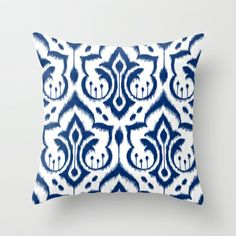 Ikat Damask Navy Throw Pillow by Patty Sloniger - $20.00
