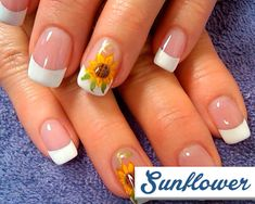 Sunflower - 20 Modern French Manicures Ideas - EverAfterGuide