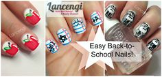 ▶ Easy Nail Art Designs For Beginners #6 - Back to School - Perfect for short nails tutorial!