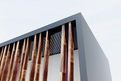 Centro Salud Mungia - Concurso - ASGA Arquitectos Bilbao - Detalle de la fachada de madera