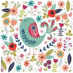Scandi Art, Scandinavian Folk Art, Folk Art Flowers, Flower Art, Bird Illustration, Flower Illustrations, Bird Drawings, Bird Art, Coloring Books