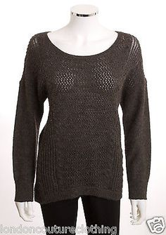 EILEEN FISHER  ROUND NECK LONG SLEEVE HIGH LOW KNIT CHARCOAL GRAY SWEATER SZ MED
