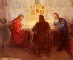 anna ancher | Interior with three persons, 1917
