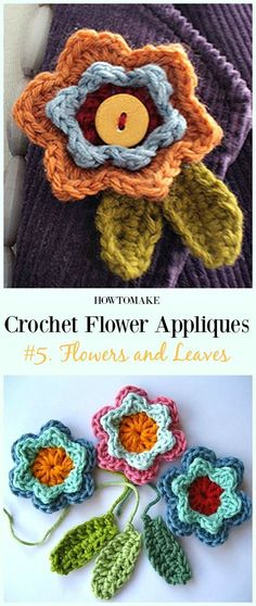 Easy Crochet Flower Appliques Free Patterns For Beginners Crochet