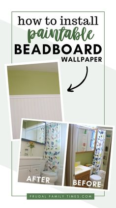 A cheap and easy way to get the classic beadboard look. Beadboard wallpaper: a step-by-step tutorial. This is a bathroom, but the look could work in a bedroom or living area. Great before and after of this affordable makeover!
