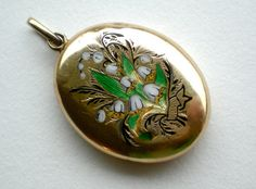 "Victorian Locket Snowdrop Enamel Mourning Gold - 248$ on etsy ""treasurebooth"""