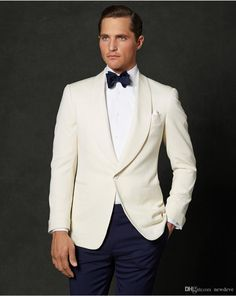 Handsome Ivory And Navy Slim Fit Groom Tuxedos Custom Made Men Business Suit High Quality Two Pieces Wedding Suits Tuxedos Mens Blazers From Newdeve, $69.65  Dhgate.Com