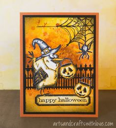 Happy and Bird Crazy Halloween! Card with inked background, decorated with different stamped and die-cut images.  -by Elina Stromberg-