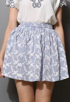 Smoke Purple Floral Print Skater Skirt