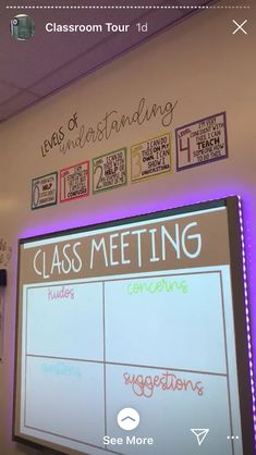 Classroom - class meeting every Friday kudos, concerns, questions, suggestions students pick one category and stick a postit note up 5th Grade Classroom, Middle School Classroom, Classroom Behavior, Classroom Community, Future Classroom, Classroom Meeting, Year 6 Classroom, Classroom Procedures, High School