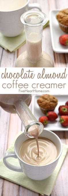 Homemade Chocolate Almond Coffee Creamer this all-natural creamer is sweetened with pure maple syrup and flavored with cocoa powder almond extract and vanilla extract for a decadent delicious way to dress up your morning cup 'o joe! Almond Milk Creamer, Homemade Coffee Creamer, Chocolate Coffee Creamer Recipe, Natural Coffee Creamer, Low Carb Coffee Creamer, Paleo Coffee, Expresso, Homemade Chocolate, Almond Chocolate