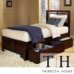 Tribecca Home Ferris Cherry Twin-size Platform Storage Bed