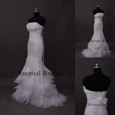 Vestidos De Noiva Mermaid Court Train Appliques White Tiered Organza Scoop Long Floor-Length Sexy Backless Wedding Dresses 2014 $195.73