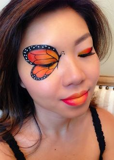Monarch Butterfly Face Paintcountryliving butterfly makeup These Halloween Face Paint Ideas Are So Good, You Might Even Skip the Costume Butterfly Face Paint, Butterfly Makeup, Butterfly Eyes, Monarch Butterfly Costume, Visage Halloween, Halloween Eye Makeup, Halloween Eyes, Halloween Party, Zombie Makeup