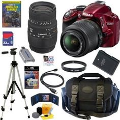 Nikon D3200 24.2 MP CMOS Digital SLR Camera (Red) with 18-55mm f/3.5-5.6G AF-S DX VR Lens and Sigma 70-300mm f/4-5.6 SLD DG Macro Lens with built in motor + EN-EL14 Battery + 10pc Bundle 32GB Deluxe Accessory Kit - For Sale Check more at http://shipperscentral.com/wp/product/nikon-d3200-24-2-mp-cmos-digital-slr-camera-red-with-18-55mm-f3-5-5-6g-af-s-dx-vr-lens-and-sigma-70-300mm-f4-5-6-sld-dg-macro-lens-with-built-in-motor-en-el14-battery-10pc-bundle-32gb-deluxe-a/