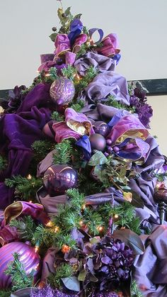 A purple Christmas tree.