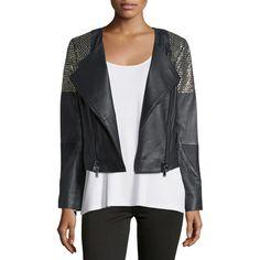 Haute Hippie Embellished Leather Moto Jacket (342.150 CRC) ❤ liked on Polyvore featuring women's fashion, outerwear, jackets, black leather jacket, leather biker jacket, black straight jacket, leather motorcycle jacket and leather jacket