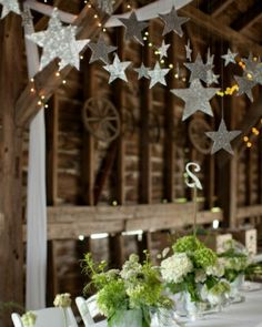 """See the """"Glittering Stars and Table Numbers"""" in our A DIY Rustic Wedding on a Farm in New York gallery. Omg sparkles and a barn wedding is perfection! Prom Decor, Party Decoration, Wedding Decorations, Christmas Decorations, Star Wedding, Diy Wedding, Rustic Wedding, Wedding Ideas, Starry Night Wedding"""