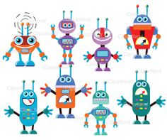 INSTANT DOWNLOAD Robots. Personal and commercial by clipartland, $3.99
