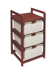 Badger Basket Company Three Drawer Hamper/Storage Unit in Cherry by Badger Basket Company. $39.88. Easy assembly. Cherry finish frame. For use in the nursery, child's room, bathrooms, kitchens, closets, and more. Three pull out drawers. Simple, useful, lightweight storage. From the Manufacturer                It is lightweight and easy to assemble and use. It is useful when you need extra storage but not extra furniture. Great for laundry, clothes, toys, hats and mittens...