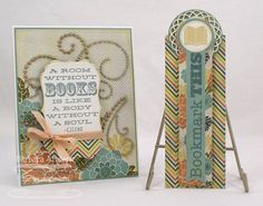 "Bookmark This - MFT August Teaser, Day Four Bookmark Duo Die-namics and Stamp Set (MFT)  Paper: Whip Cream card stock (MFT); Blue Bayou (SU!); Indie Chic ""Citron"" (MME)  Ink: Blue Bayou, River Rock (SU!)  Accessories: Vagabond; Die-namics Bookmark Duo, Die-namics Textile Rectangle die only, Die-namics Circle STAX, Die-namics Mini Doily Circles, Die-namics Fishtail Flags STAX (MFT); ribbon, pearls"