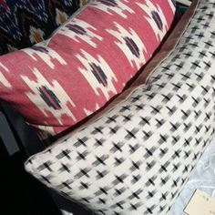 Decorative pillow cover / navy blue and white / 12 x 20 / navy ikat pillow. $52.00, via Etsy.