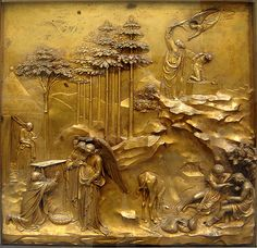 Lorenzo Ghiberti 'Sacrifice of Isaac' panel from the Baptistry doors - Battistero di San Giovanni - Florence, Italy - period of creation 1401-1422