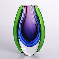 "Hand Blown Purple, Blue, & Green Sommerso Oval Art Glass Vase 10"" tall' onload=""if (typeof uet == 'function') { uet('af'); } 44.00"