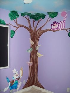 Alice in Wonderland..very cute for a little girl's room.  Also cute is painted on poster boards and pinned to walls for a party decoration.