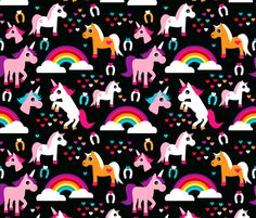 Unicorn rainbow dream adorable horse illustration for girls fabric by littlesmilemakers on Spoonflower - custom fabric
