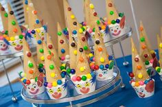 Circus birthday party clown cupcakes! See more party planning ideas at CatchMyParty.com!