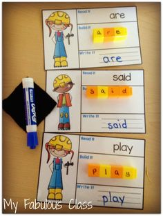 Build sight words with unifix cubes and these adorable construction workers. Includes pre=primer and primer dolch sight words.