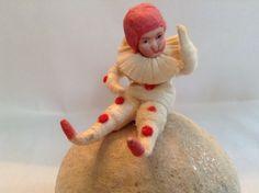 Antique Heubach Snowbaby Clown Snowball Container Spun Cotton Mica German   eBay 895.00 sold