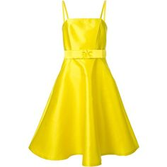 P.A.R.O.S.H. Belted Flared Dress (420 CAD) ❤ liked on Polyvore featuring dresses, belted dress, yellow dress, flared dress, p.a.r.o.s.h. and flare dress